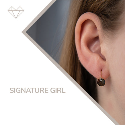 Signature diamond and yellow gold lever earrings for girls  jewelry