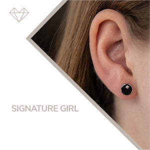 Signature diamond and yellow gold stud earrings for girls lever jewelry