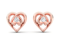 heart earrings for little girls and baby earrings in solid 14k gold with diamonds