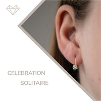 Celebration diamond and yellow gold lever earrings for girls  jewelry