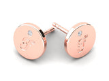 Childrens jewelry for little girls and baby Signature Girl personalized earrings 14k solid rose gold stud
