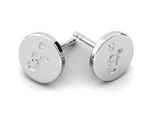 Childrens jewelry for little girls and baby Signature Girl personalized earrings 14k solid white gold stud