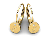 Childrens jewelry for little girls and baby Signature Girl personalized earrings 14k solid yellow gold lever