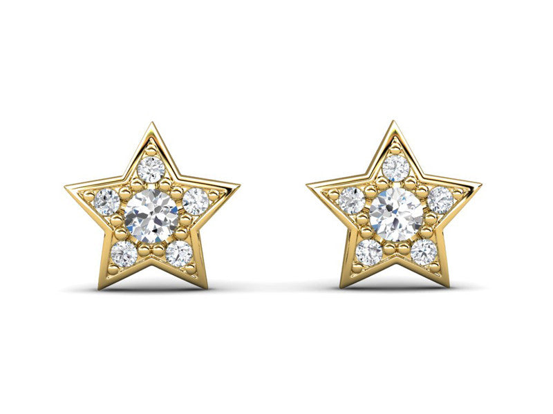 Childrens jewelry for little girls and baby Sparkling Star Bright earrings 14k solid gold