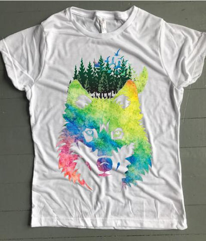 Wild Wolf Watercolor Women's Tee - Weekend Originals