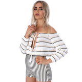 FLASH SALE Stripe Knit Tie Cropped Beach Jumper