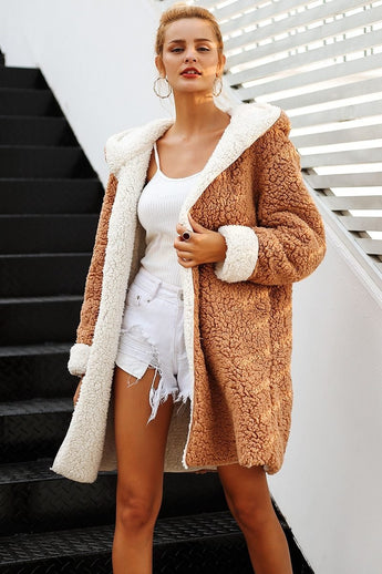 Oversized Plush Reversible Teddy Bear Fur Hooded Jacket Over Coat 4 Colours