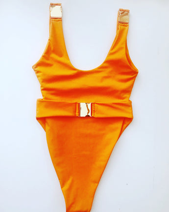Made to Order Rose Gold Tri Buckle Swimsuit