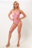 Made to Order Rose Gold Buckle V Cut High Leg Swimsuit
