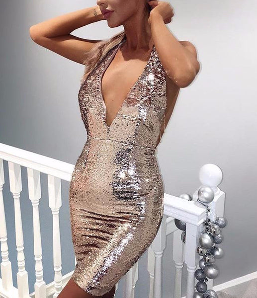 c2380e2a71 Holographic Rose Gold Party Dress Sequin Chain Back Plunge Front Backless