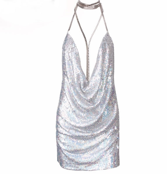 Kendall Holographic Silver Party Mini Dress