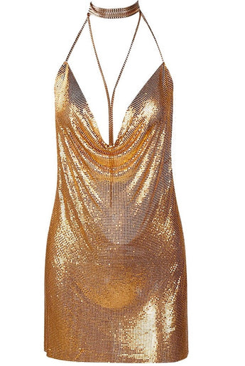 Kendall Metal Gold Chain Party Mini Dress