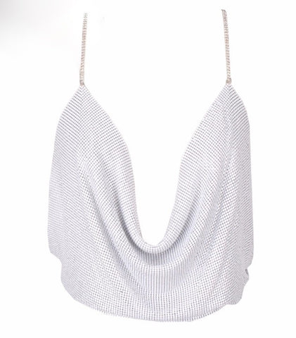Sexy Halter Metal Material Top White