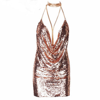 Kendall Holographic Rose Gold Party Mini Dress
