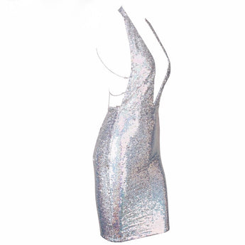 Holographic Silver Party  Dress Sequin Chain Back Plunge Front Backless