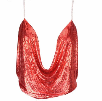 Sexy Halter Metal Material Top Red