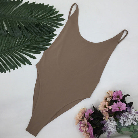 Brown Seamless High Cut Brazilian Low Side One Piece Swimsuit