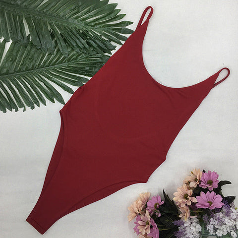 Deep Red Seamless High Cut Brazilian Low Side One Piece Swimsuit