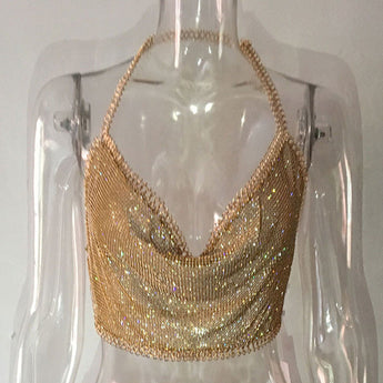 Gold Crystal Festival Chain Cami Top & Skirt Set (Sold Separately)
