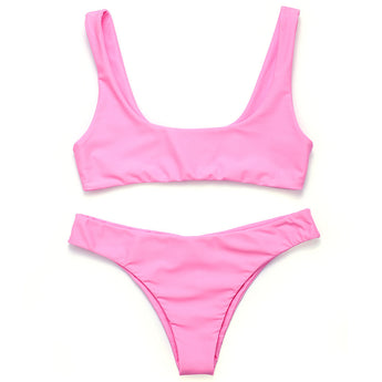FLASH SALE Pink Two Piece Seamless Minimal Brazilian Crop Top Bikini