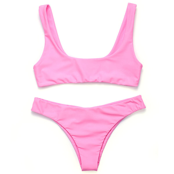 Pink Two Piece Seamless Minimal Brazilian Crop Top Bikini