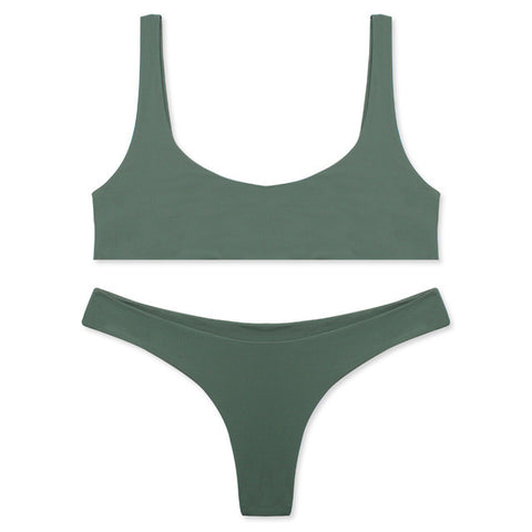 Khaki Two Piece Seamless Minimal Brazilian Crop Top Bikini
