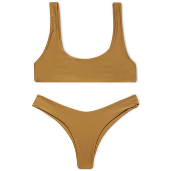 Mustard Two Piece Seamless Minimal Brazilian Crop Top Bikini