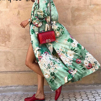 Silk Floral Maxi Belted Kimono Cover Up Jacket