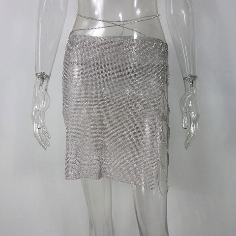 Crystal Metal Chain Festival Skirt 8 Colours