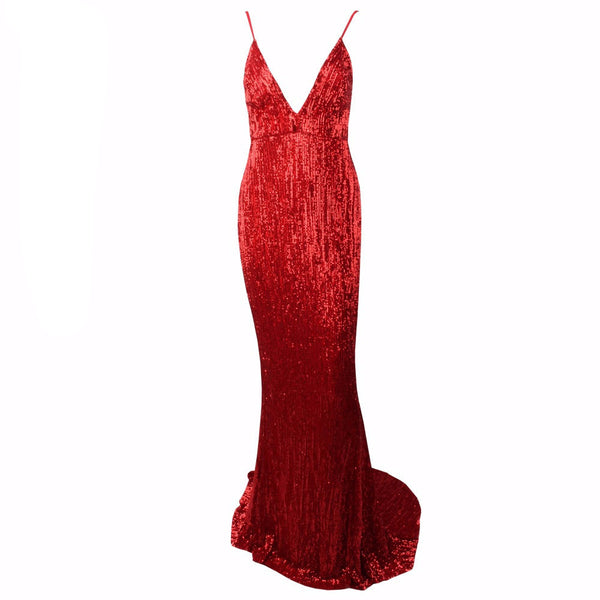 Red V Neck Elastic Sequin Low Back Maxi Mermaid Dress