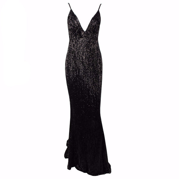 Black V Neck Elastic Sequin Low Back Maxi Mermaid Dress