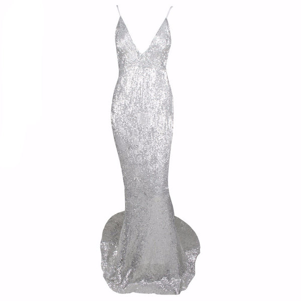 Silver Elastic Sequin V Neck Low Back Maxi Mermaid Dress
