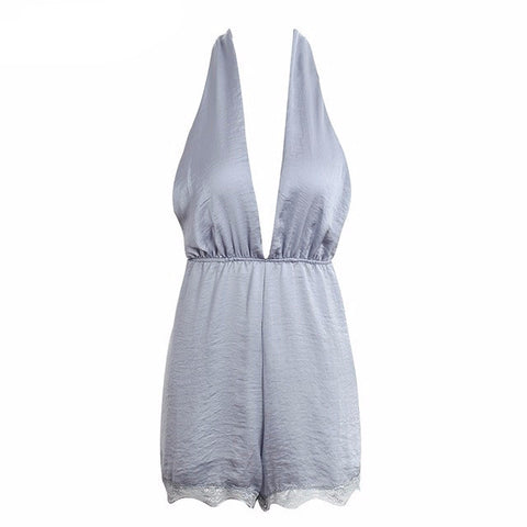 Cornflower Blue Lace Detail Silk Alterneck Plunge Playsuit