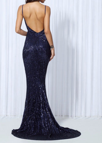 Plunge Elastic Sequin Low Back Fishtail Maxi Dress 6 Colours