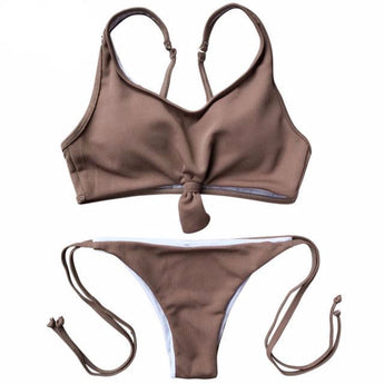 FLASH SALE Knot Crop Top Ribbed Tie Side Bikini Coffee