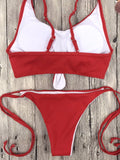 Knot Crop Top Ribbed Tie Side Bikini Red