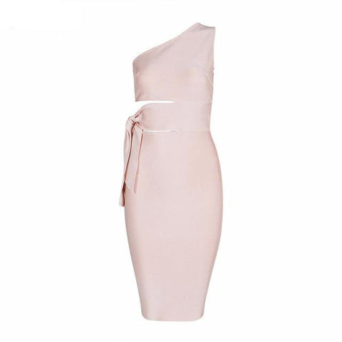 Boutique Tie Detail One Shoulder Midi Bandage Dress 4 Colours