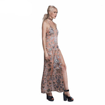 FLASH SALE Boho Flower Printed  Double Thigh Split Maxi Dress