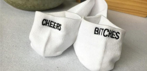 Cheers Bitches Embroidered Socks