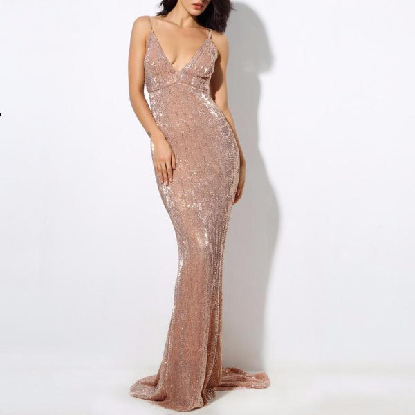 Boutique Nude Stretch Sequin Low Back Fishtail Floor Length Maxi Dress