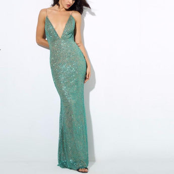 Green Plunge Neck Beaded Glitter Low Back Maxi Fishtail Dress