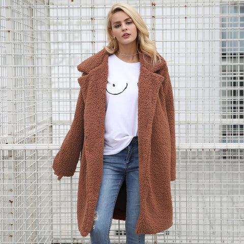 Oversized Wool Blend Long Teddy Bear Fur Coat 2 Colours ...