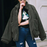 Teddy Bear Fur Oversized Bomber Jacket - New Colours