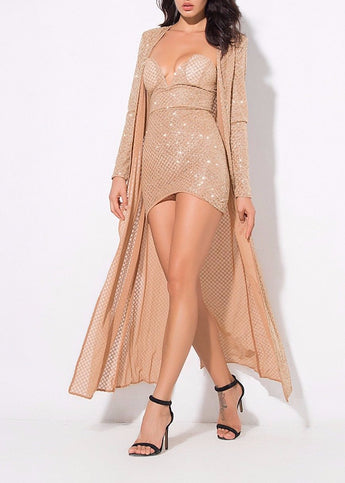 Nude / Gold Lattice Beaded Maxi Cardigan Coat Co-ord