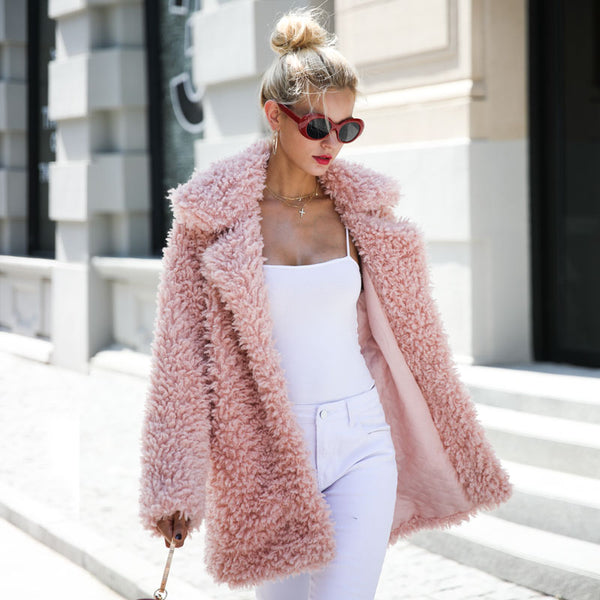 Pink Oversized Teddy Bear Fur Collared Coat