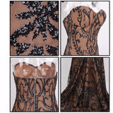 Black / Nude Perspective Floral Beaded Strapless Fishtail Maxi Dress