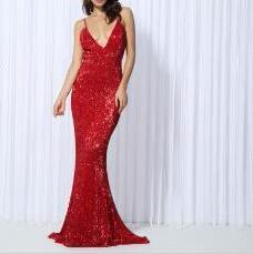 Plunge Elastic Sequin Low Back Fishtail Maxi Dress 6 Colours - Express Delivery