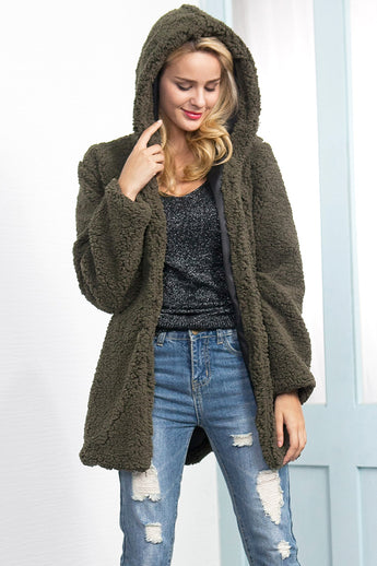 Teddy Bear Fur Longline Hooded Coat 5 Colours