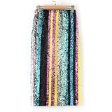Rainbow Sequin Side Split Mid Waist Pencil Skirt
