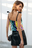 Rainbow Sequin Tie Shoulder Cami Top